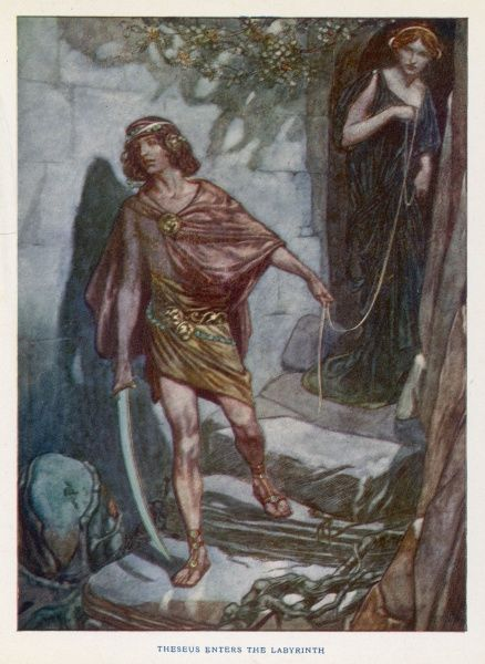 Ariadne, daughter of the Cretan King, Minos, watches Theseus as he enters the labyrinth to slay the Minotaur. The string will help him trace his way out again