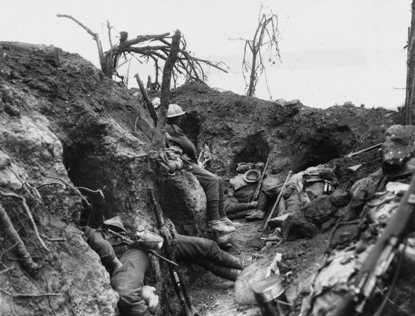 Men of the Border Regiment resting in a front line trench at Thiepval Wood Date: August 1916