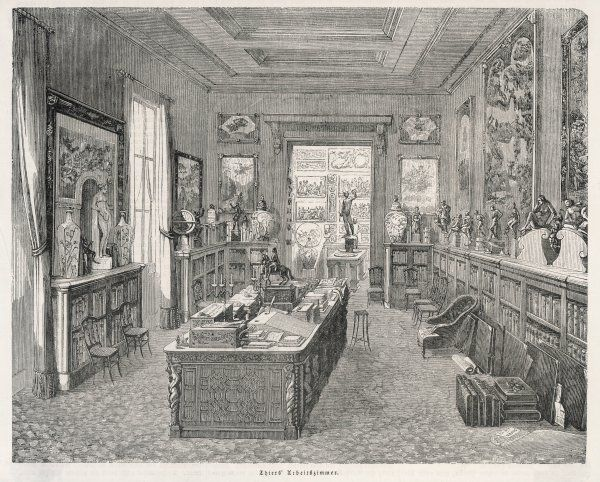 The workroom of statesman and historian Adolphe Thiers in his home in the the place Saint-Georges, Paris
