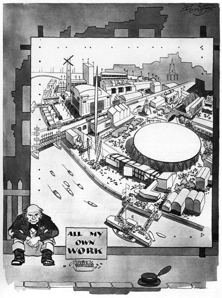 Cartoon by Sherriffs showing a street artist who has completed a superb drawing of the Festival of Britain site on the South Bank in London, with the notice, 'All My Own Work'! Date: 1951