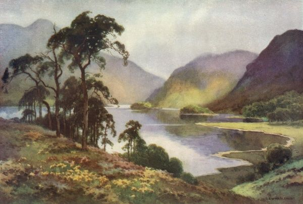 Thirlmere, with Hellvellyn in the distance. Date: circa 1909