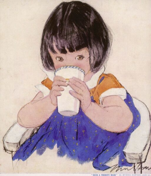 An adorable little girl with a blunt bob and brown eyes, enthusiastically drinks a glass of milk