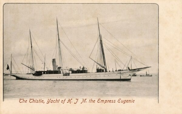 The Thistle - Yacht of Her Imperial Majesty Empress Eugenie, the wife of Napoleon III Date: circa 1903