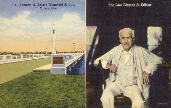 F4- Thomas A. Edison memorial bridge, Ft. Myers, Fla. Thomas A. Edison called Ft. Myers his adopted home from 1885 when he first came here, until 1931, the year of his death. On the grounds of his estate, where he maintainted his laboratory