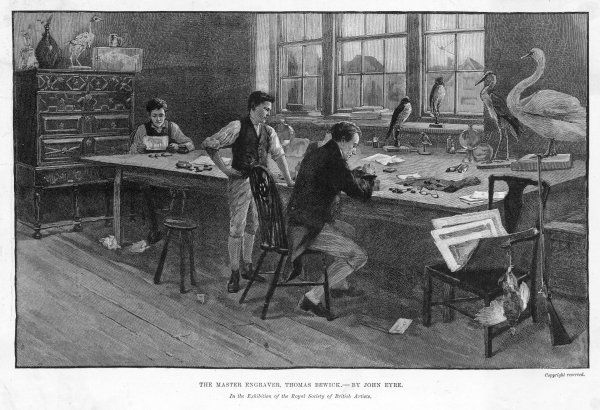 THOMAS BEWICK English illustrator and wood engraver, at work in his studio