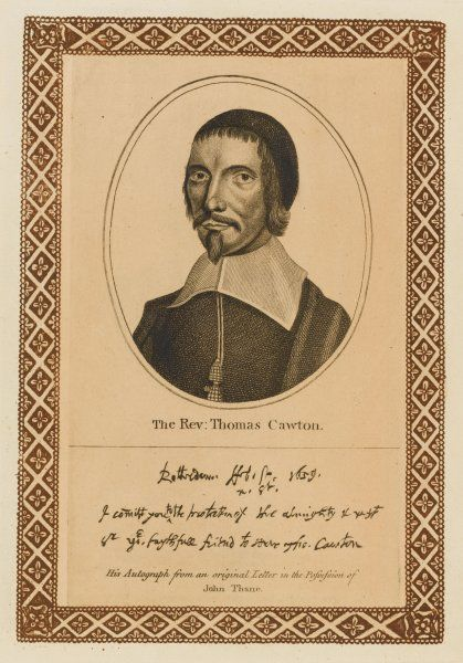 THOMAS CAWTON protestant churchman whose royalist sympathies led him to take refuge in Rotterdam with his autograph