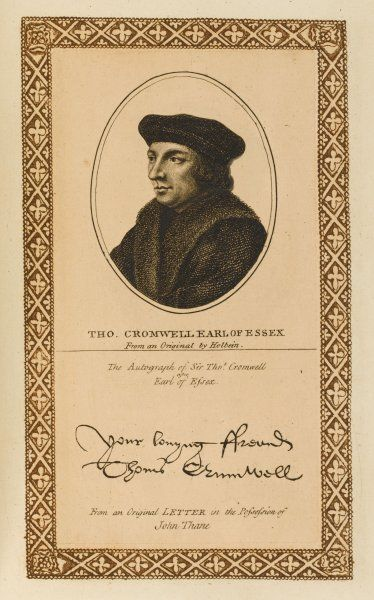 THOMAS CROMWELL, earl of Essex statesman with his autograph