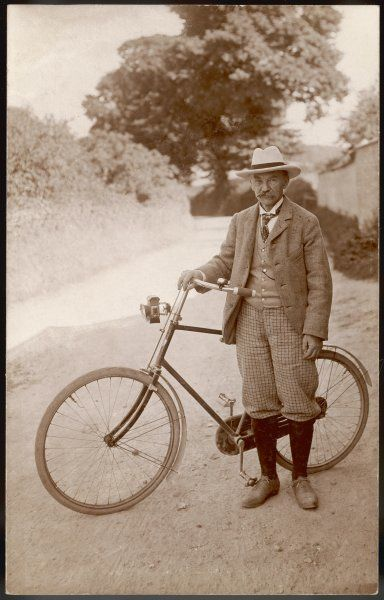 THOMAS HARDY writer and cyclist, at his home at Max Gate, early 1920s