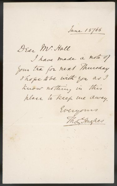A letter from the English MP and author of Tom Brown's Schooldays - written on House of Commons notepaper