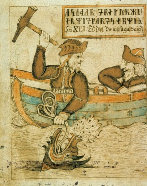 Thor, the god, is fishing. Illustration in The Olafur Brynjulfsson Edda 1760, a manuscript which contains material from both the Younger and Elder Edda. Date