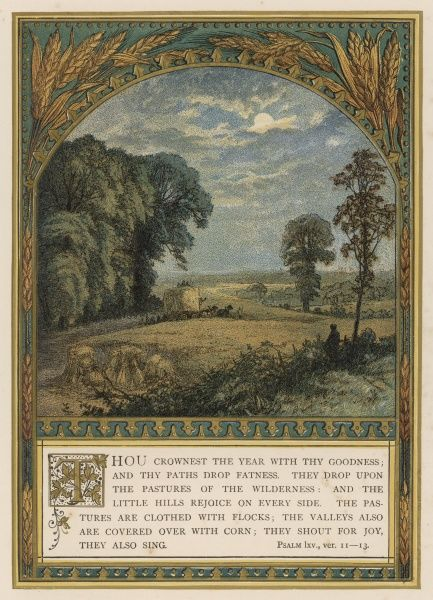 'Thou crownest the year...' text for harvest-time, accompanied by a view of a cornfield and decorative ears of corn. Date: circa 1880