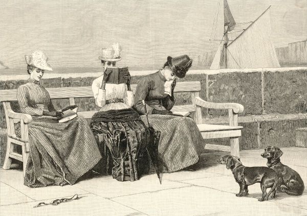 Three ladies read the successive volumes of a 'three-decker' - the tranquil opening volume, the awful disclosures of the second, the tearful denoument of the third
