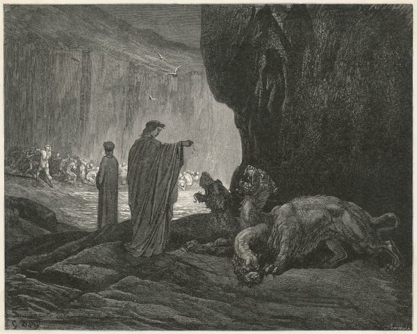 Virgil, accompanying Dante to the Underworld, throws a sop to Cerberus, the three-headed dog who guards the entrance