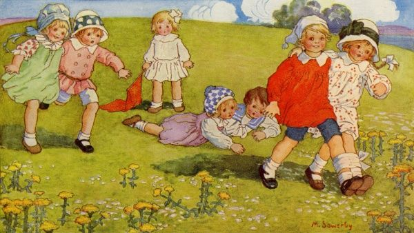 The Three-legged Race. Artist: Millicent Sowerby. Happy children out in the country enjoying the traditional game Date: 1915