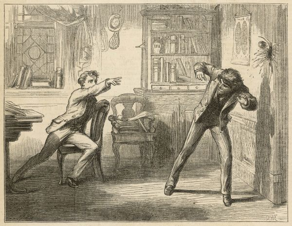 In a fit of rage, a boy throws an ink bottle at another boy's head; it misses and hits the door instead
