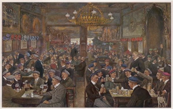 Students drinking in the Thuringer Hof, Leipzig