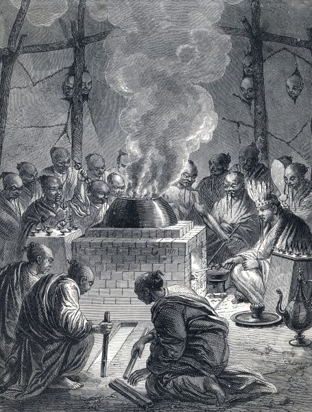 Burning the body of a Tibetan Lama Date: circa 1870