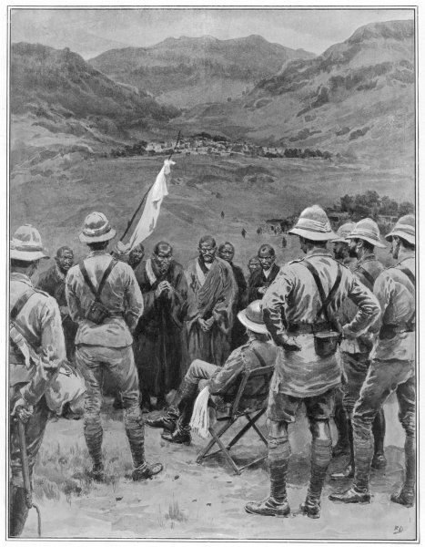 Brigadier General MacDonald of the British expedition forces the Tibetan lamas to provide grain for his troops