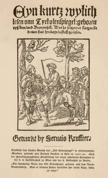 TILL EULENSPIEGEL Title page of the story of Jester Till from Germany