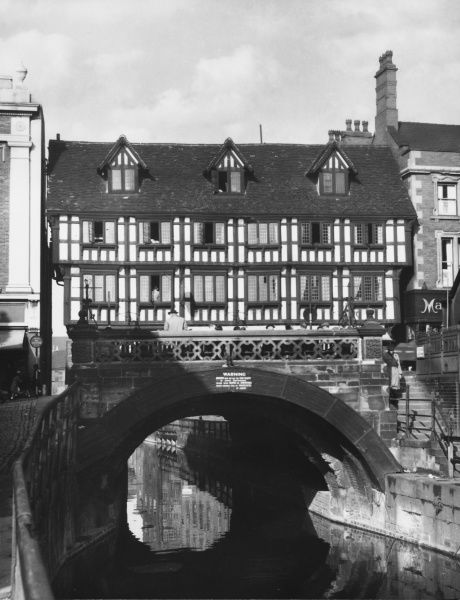 A timber-frame house built on a bridge in Lincoln. The house dates from 1540, but the bridge is thought to be Norman and one of the oldest in Britain