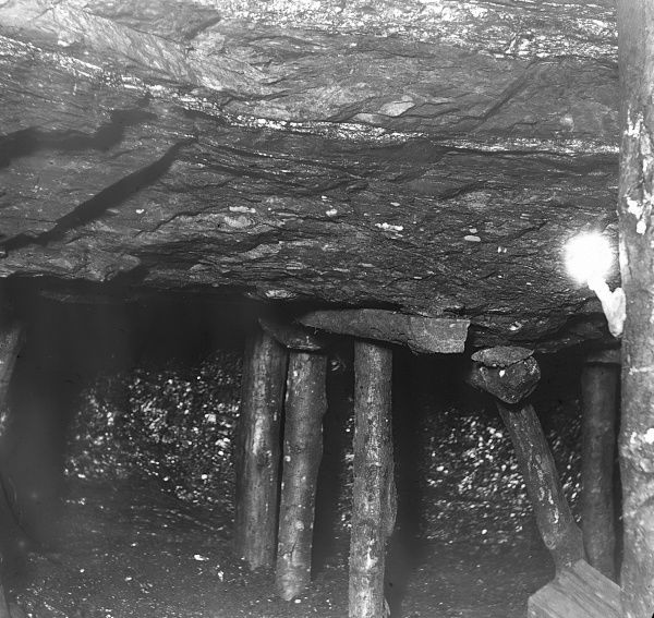 Timber supports in a mine in South Wales