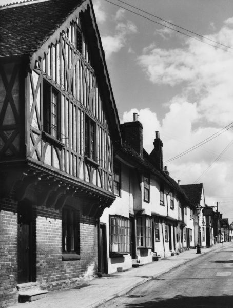 Timbered and plastered houses which line the streets of Saffron Walden, Essex, England
