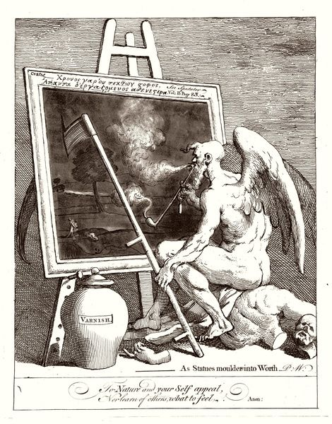 Father Time stares glumly into a dark painting as his scythe accidentally rips the canvas: a satire on the contemporary admiration for artworks darkened by time