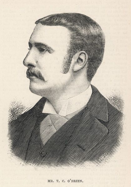 Engraved portrait of Timothy Carew O'Brien (1861-1948), the Anglo-Irish cricketer, pictured in 1884