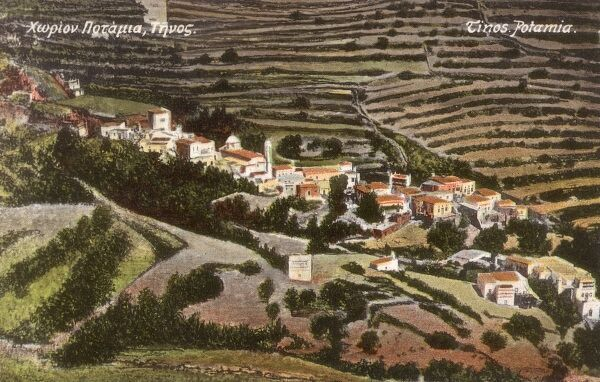 The village of Potamia on the Greek Island of Timos in the Aegean Sea Date: circa 1910s