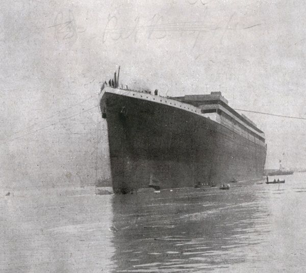 A photograph of the launch of the Titanic at Belfast. Date: 7th June 1911