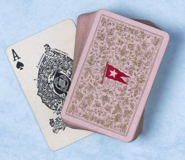A set of playing cards from the Titanic bearing the logo or insignia of the White Star Line on the box