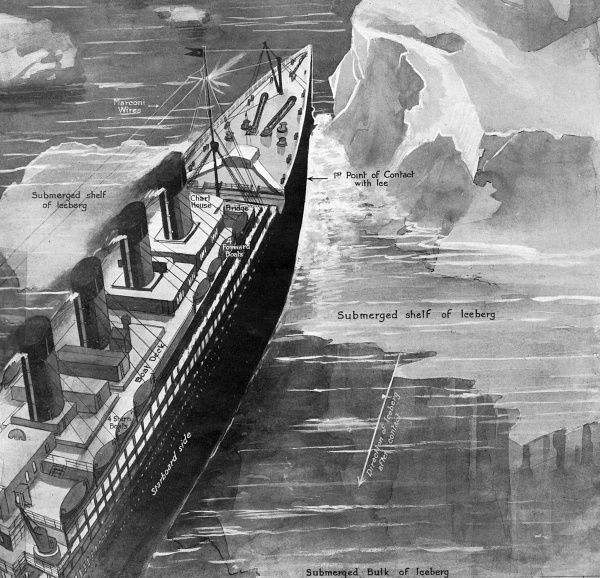 An illustration depicting the moment that the Titanic first came into contact with the iceberg. Date: 27th April 1912