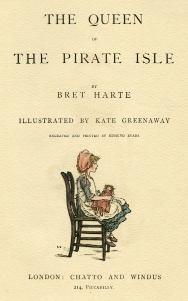 Title page design, The Queen of the Pirate Isle, showing a little girl sitting on a chair with a doll on her lap