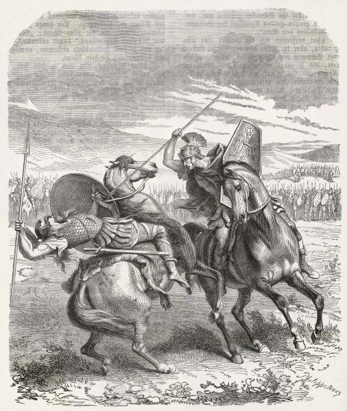 TITUS MANLIUS TORQUATUS Roman soldier and statesman, depicted vanquishing an enemy in single combat
