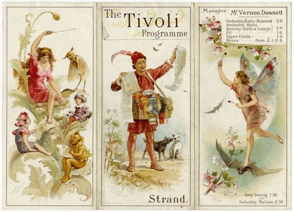 The cover of a programme for the music hall bill to celebrate the third anniversary of the Tivoli Theatre on The Strand, London. Date: 3 July 1894