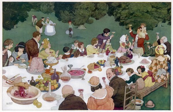 A charming and detailed scene showing a large extended family, or possibly group of villagers drinking a toast around a large table groaning with delicious fruit pies, turkey, jelly, soup, cakes and wine