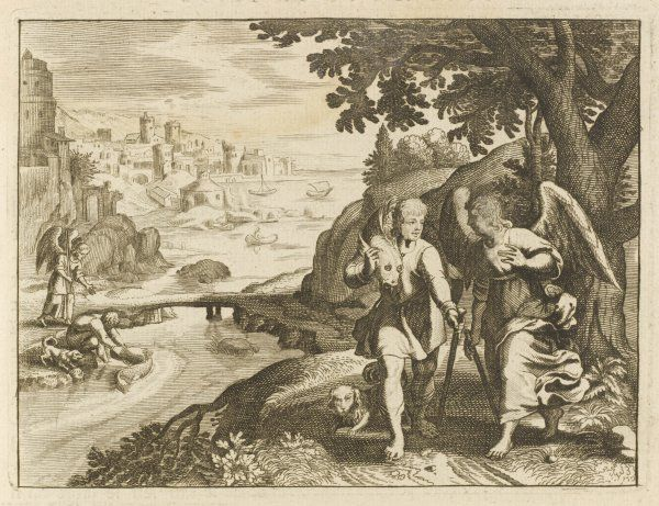 Tobias, son of Tobit, encounters an angel while travelling on a journey, who has been sent to guide him on his way