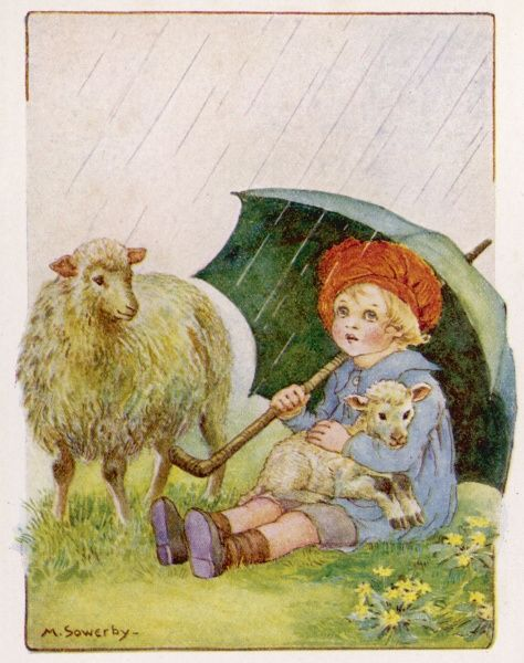 A little boy sits in the rain sheltering himself, a lamb and a sheep underneath an umbrella