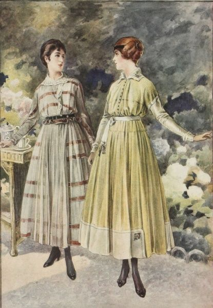 Two women enjoying a summer's day in the garden wearing the latest fashionable dresses from Paris