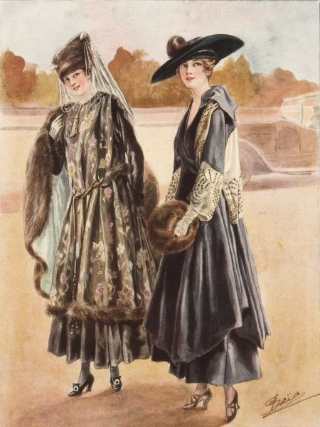 Two women modelling winter fashions for promenading outdoors. A car can be seen in the background