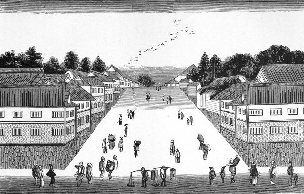 An early view of one of Tokyo's principal thorough- -fares, home to daimios (officials) : later it will house the Foreign Office and War Department. Date: early 19th century
