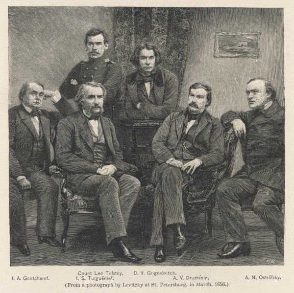 TOLSTOY (top left) with (left to right) I A Goncharov, Ivan Turgenev, D V Grigorovich, A V Druzhinin and A N Ostrovski