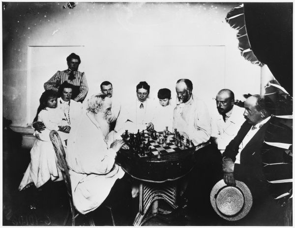 Russian author Leo Tolstoy plays chess