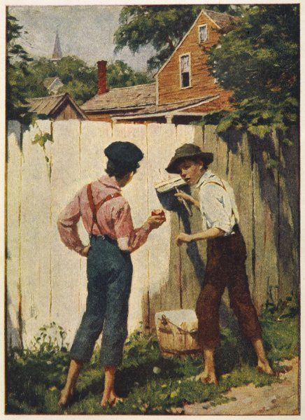 "Tom Sawyer whitewashing the fence : ""does a boy get a chance to whitewash a fence every day?&quot"