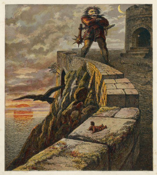 He is deposited by a raven on the walls of Old Grumbo the giant's castle