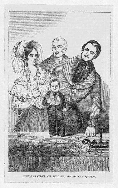 General Tom Thumb (real name: Charles Sherwood Stratton) is presented to Queen Victoria and Prince Albert