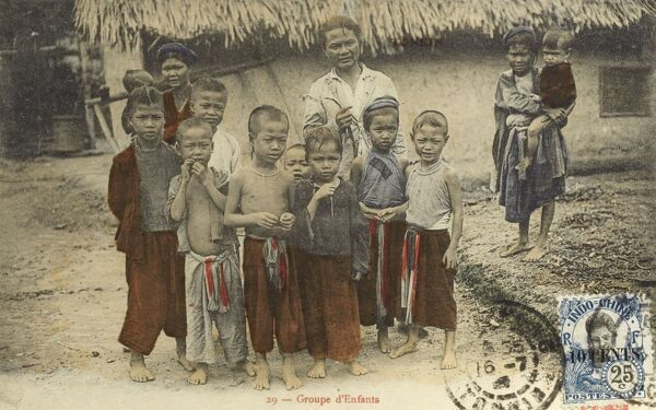 Tonkin Province (in the fertile delta of the Red River), Northern Vietnam - Group of Village Children Date: circa 1910s