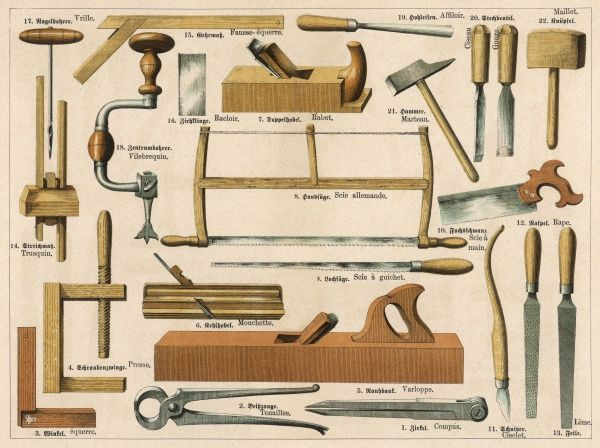 Various tools used in carpentry and joinery, including a vice, saws, chisels, a plane, pliers, a compass and a hammer