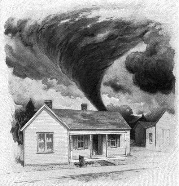 The view of East McPherson Street, Kirksville Missouri, looking south as a tornado approaches. A bungalow in its path looks set to be destroyed. Date: 27th April 1899