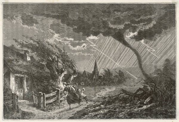 A mother runs home with her children as a tornado approaches : this may depict the Loudun tornado of 1863
